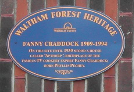 Fanny Cradock plaque